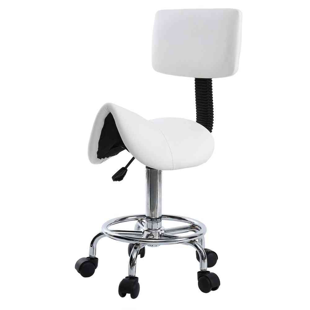 Saddle Chair Dental Roll Pu Leather Dentist Spa Rolling Stool With Back Support