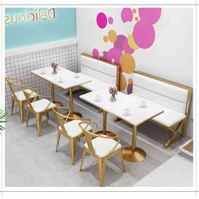 Table And Chair Combination Of Card Seat Sofa In A Milk Tea Shop