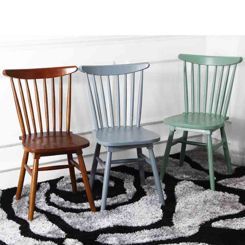 Solid Wood Dining Table Chair, Windsor Restaurant Backrest Chair