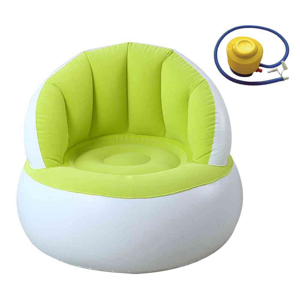 Children Inflatable Sofa With Backrest, Cute Flocking Colorful Folding Sofa Chair