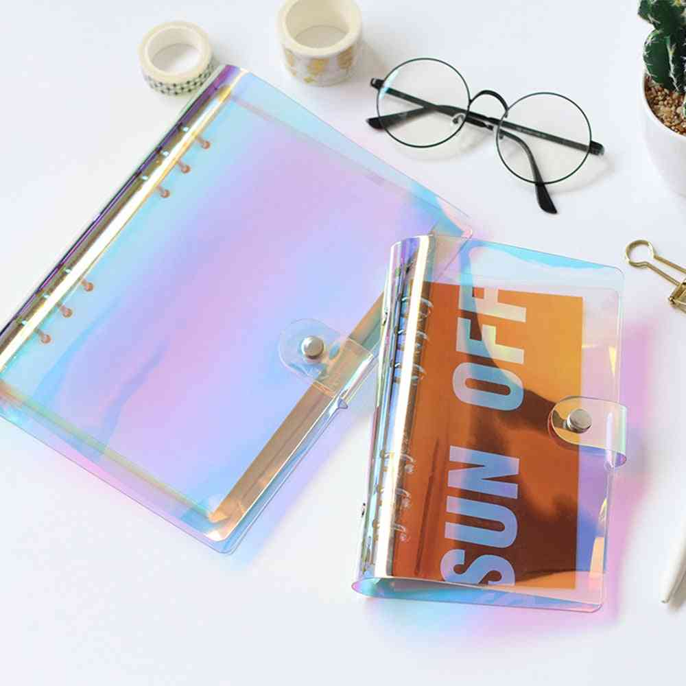 6-hole Clear Binder Cover, Rainbow Notebook