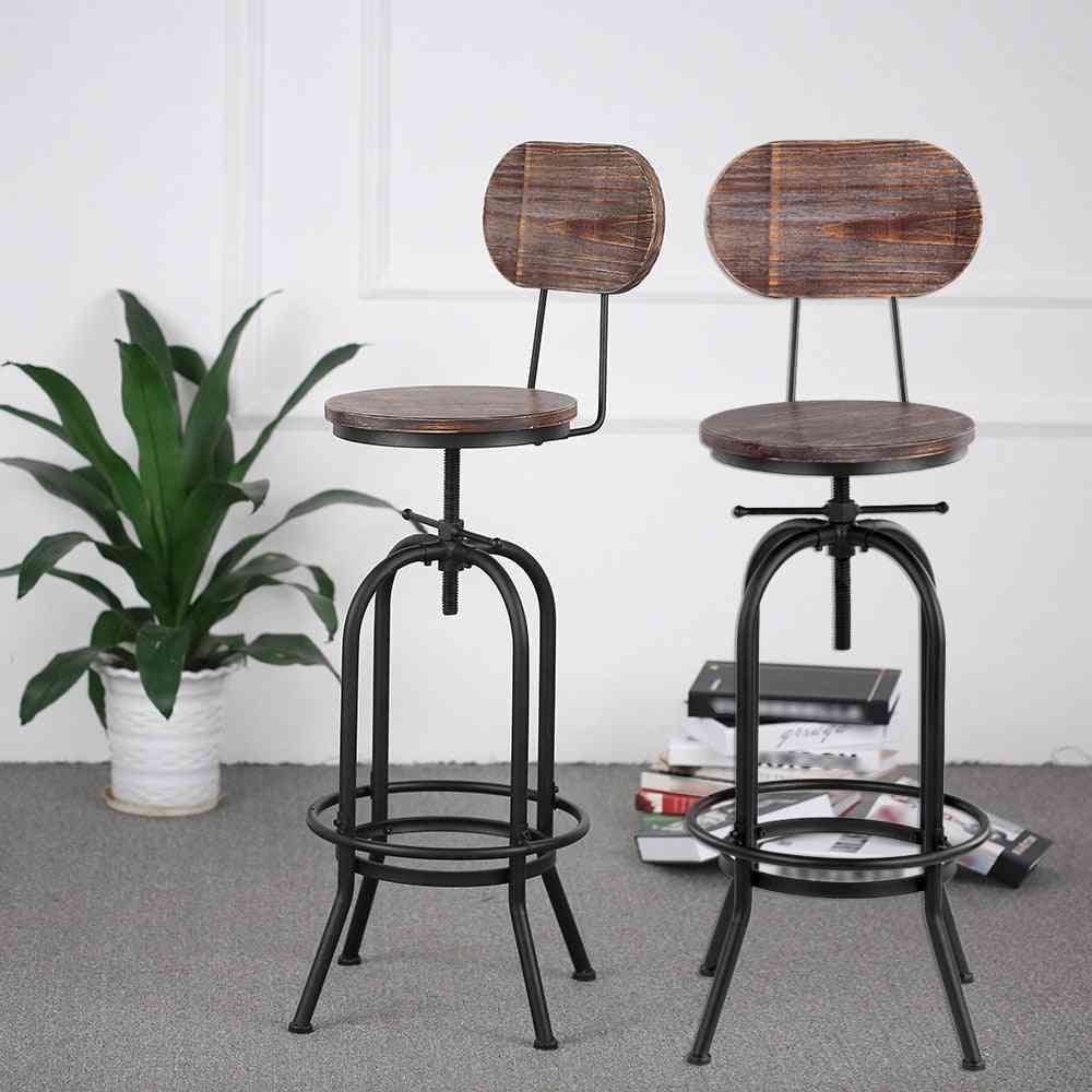 Adjustable Swivel Kitchen Dining Chair Pinewood Top + Metal With Backrest Bar Stools