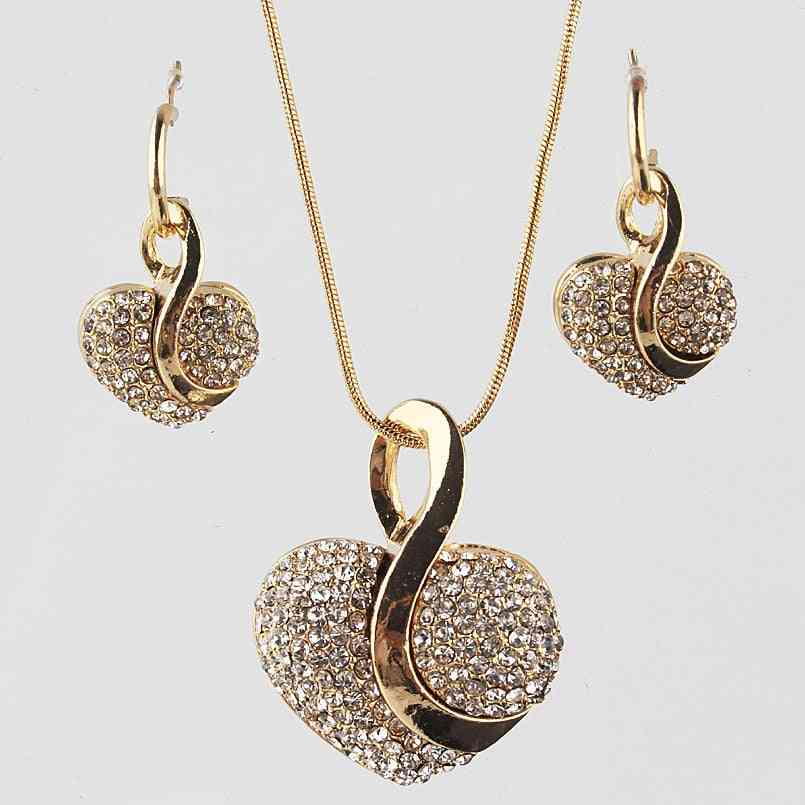 Luxury Gold-color Romantic Crystal Heart Chain Necklace Earrings Jewelry Sets