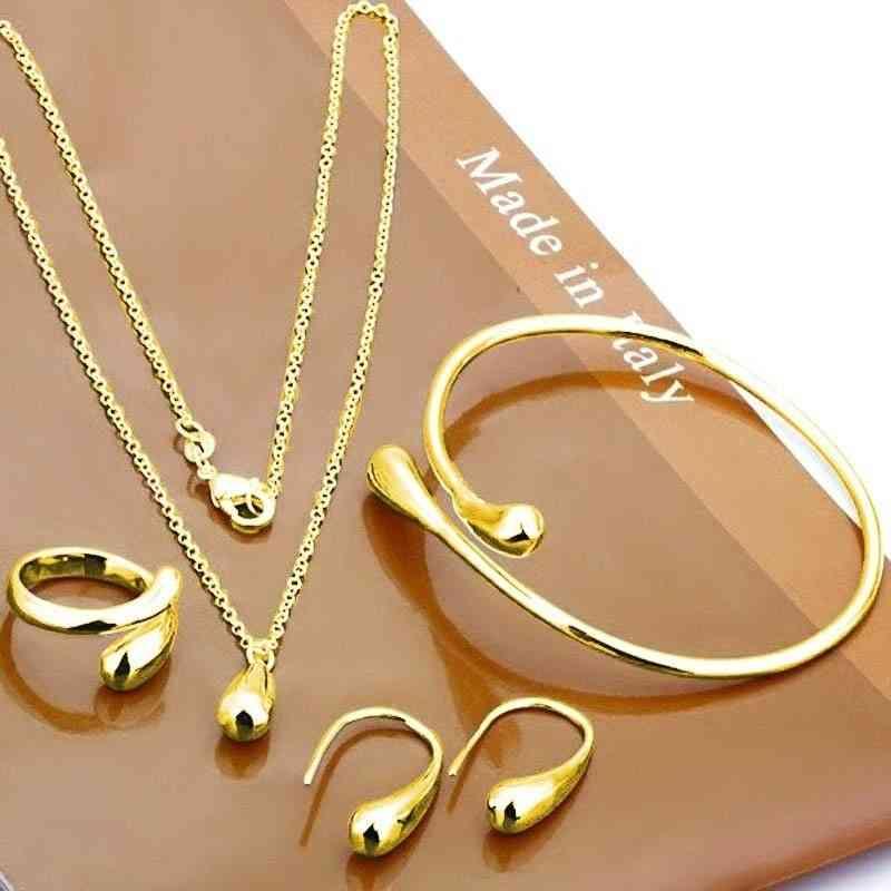 Neckalce Jewelry Set Hand Chain Bracelet Ring Hook Oval Earings