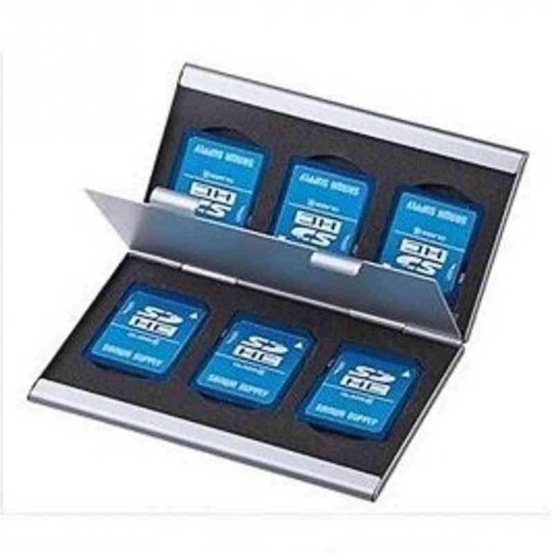 Double-layers Aluminium Alloy Sd Card Storage Box, Protector Case