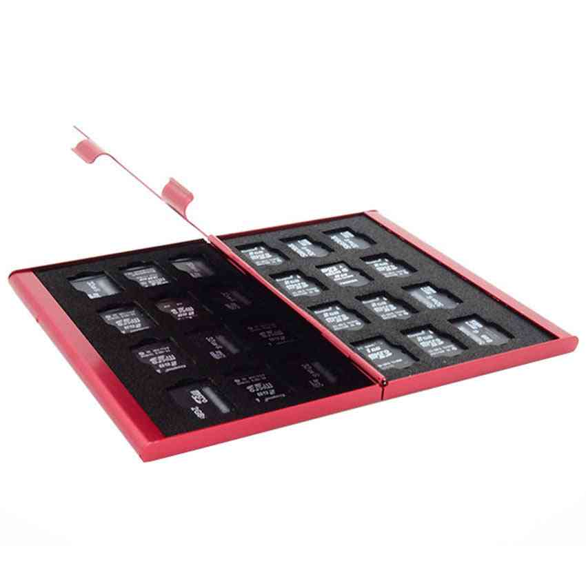 Aluminum Memory Card Storage Case, Box, Holders For Micro Memory Sd Card