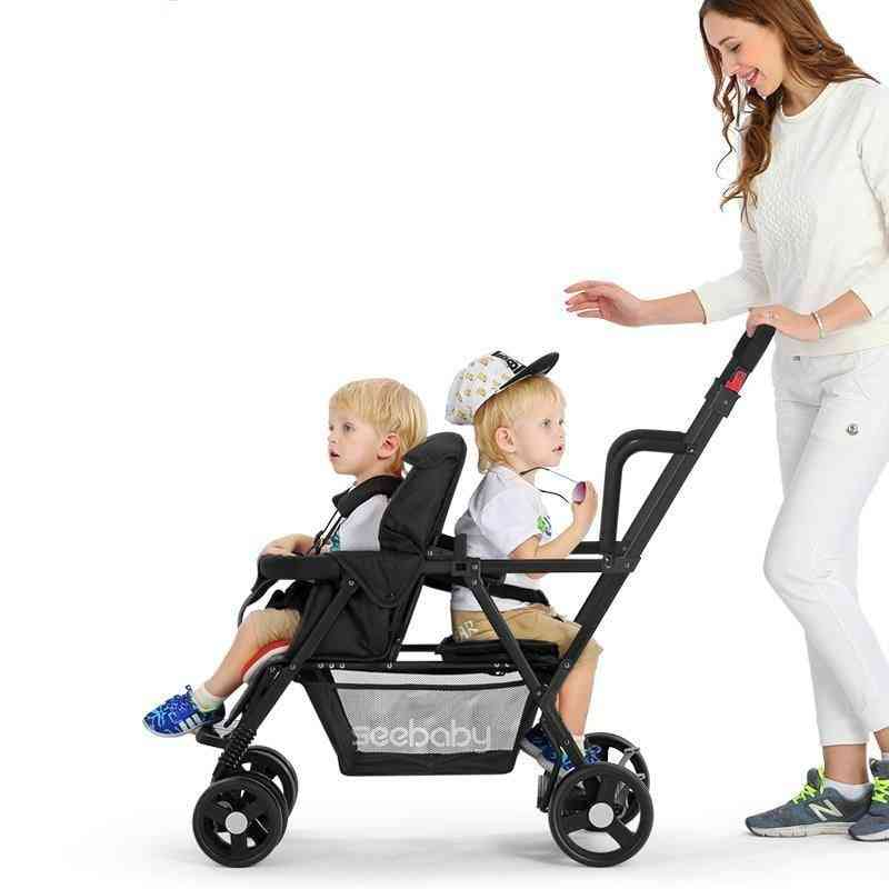 Lightweight Twin Baby Stroller Carriage Can Sit And Lie Double Seats