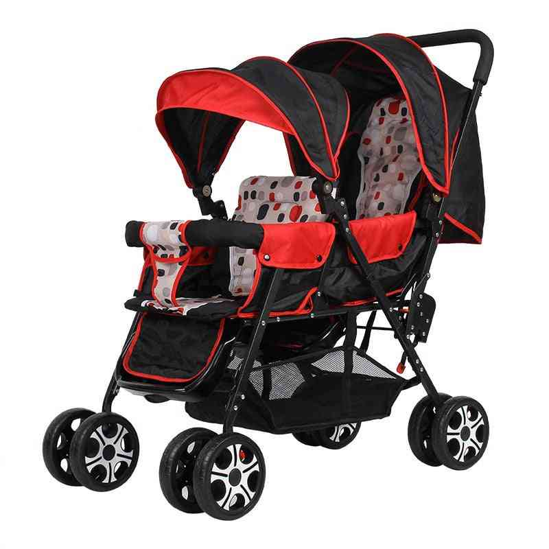 Twin Lightweight Folding Front And Rear Reclining Baby Stroller