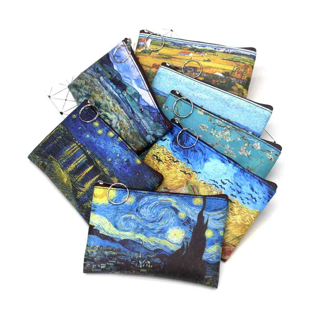 Mini Vintage Oil Painting Coin Purse, Printed Pu Wallet Lipstick, Money Bag/girls