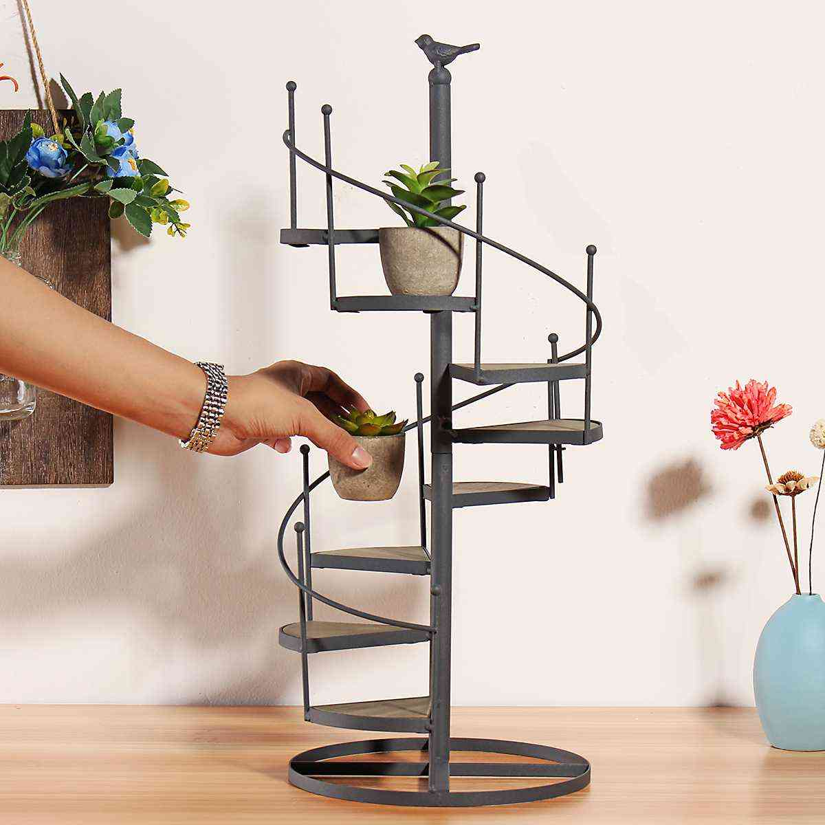 Succulent Shelf 8 Layer Stair Shape Desktop Garden Flower Stand + Wood Plate