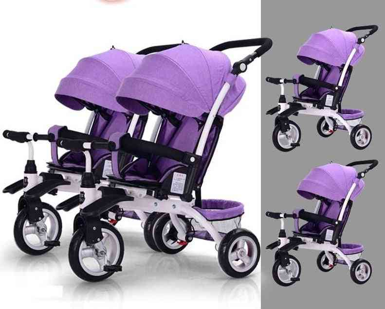Twin Stroller With Removable Canopy Adjustable Push Handle, Double Brake & Rotatable Seat