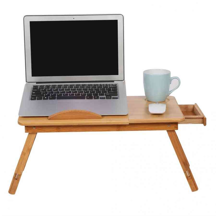 Portable Bamboo Computer Desk Rack Shelf Dormitory Bed Lap Desk Book Reading Tray Bed Table For Computer Notebook Book Table
