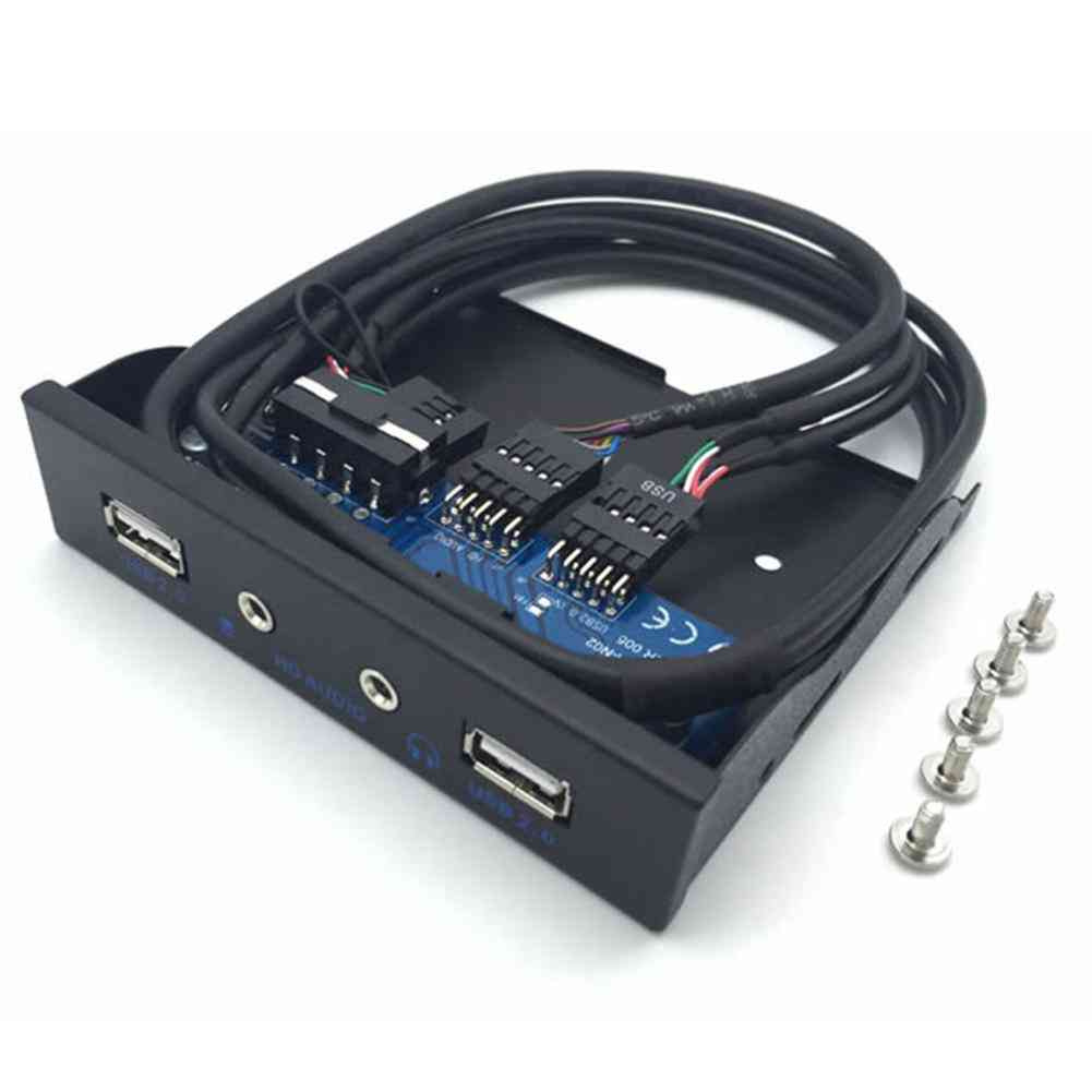 Front Panel 3.5inch Usb2.0 9pin Hub Hd Audio Output Floppy Drive Expansion Panel (black)