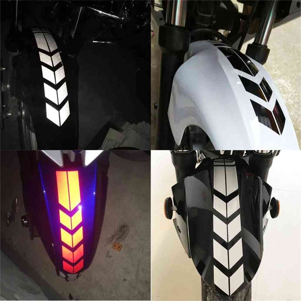 Universal Motorcycle Reflective Stickers, Wheel Car Decal On Fender, Waterproof, Safety Warning Arrow Tape