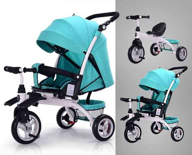 3 In 1 Can Lie Flat Infant Child Tricycle Bicycle, Baby Artifact Folding Cart Three Wheel Stroller