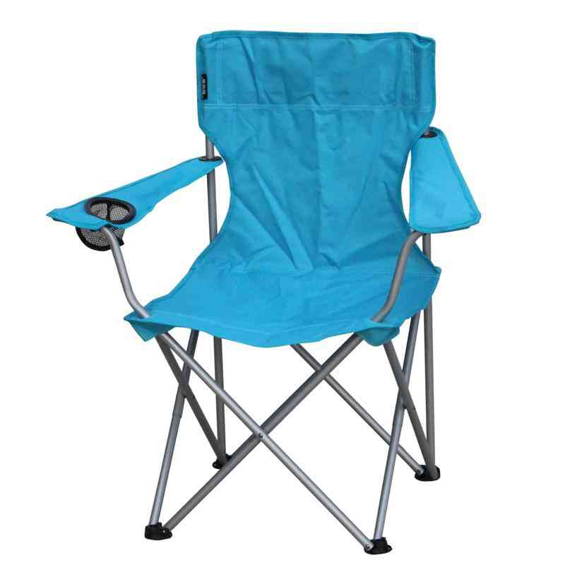 Outdoor Folding Chair Steel Chaise Oxford Fiber Armchair With Cup Holder Portable & Heavy Duty