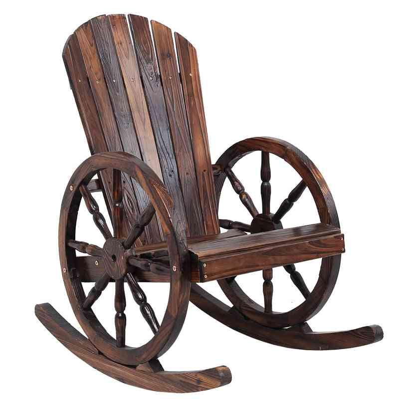 Wagon Wheel Wood Adirondack-style, Garden Furniture Rocking Chair