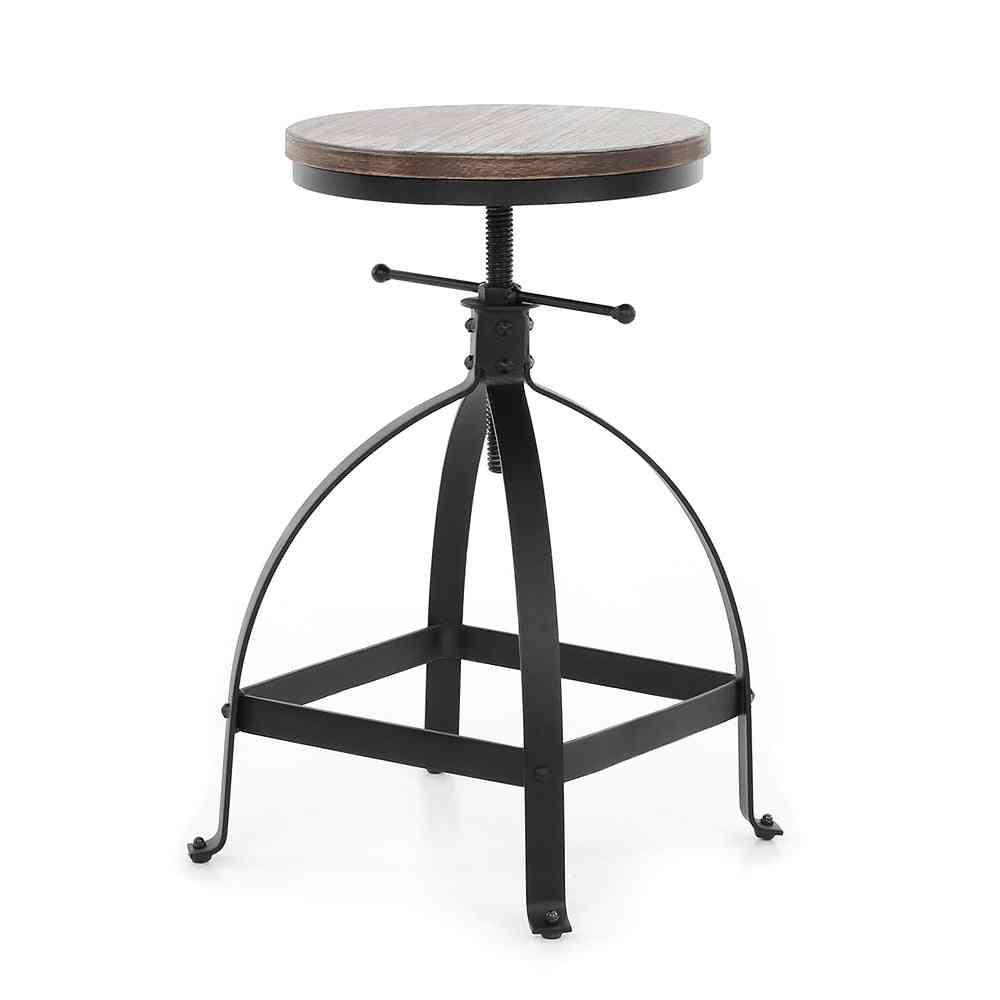 Adjustable Height Swivel Dining Breakfast Chair, Natural Pinewood Topbar Stool