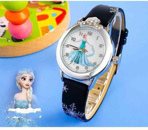 Princess Kids Watches Leather Strap Cartoon Wristwatches