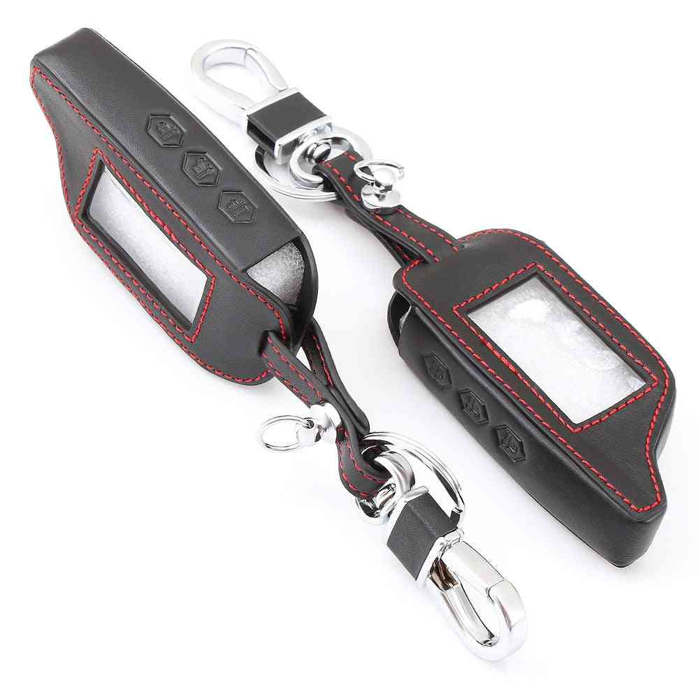 Buttons Leather Car-styling Key Cover Case, Two Way Alarm System Keychain