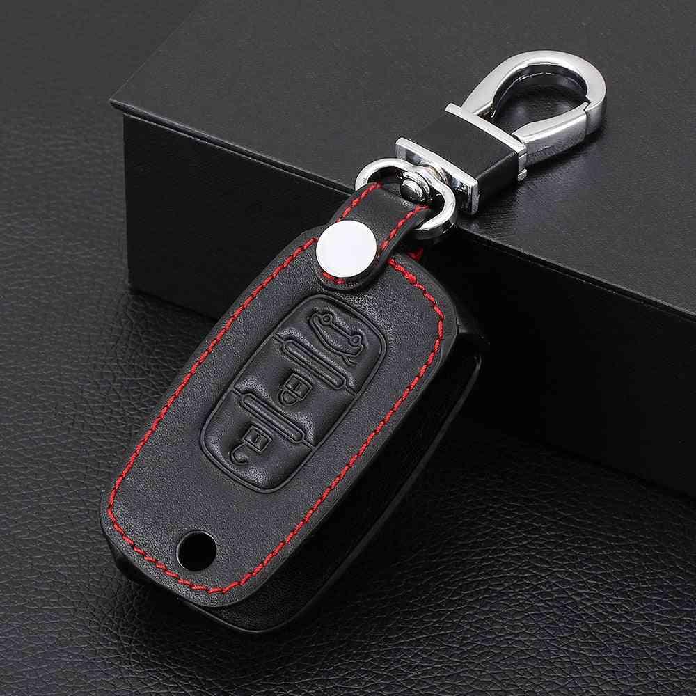 Car Flip Keys Leather Cases Fob Cover, Folding Key Chain Ring