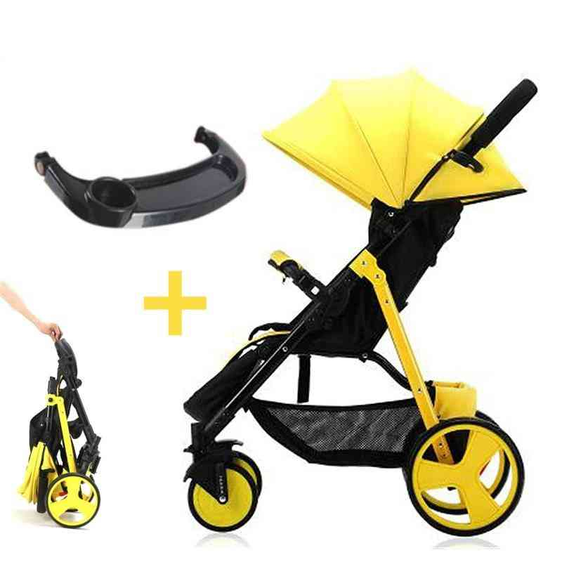 High Landscape Stroller, Folding Lightweight, Umbrella Carts With Tray Trolley