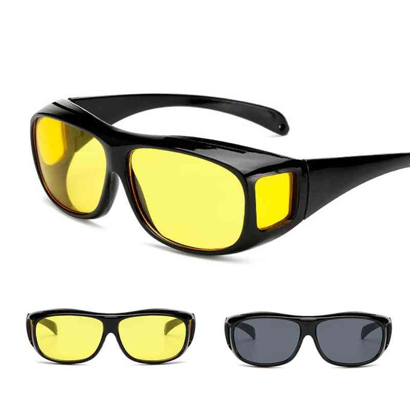 Sports Riding Night Vision Glasses, Yellow Brightened, Driver Wind And Radiation Goggles