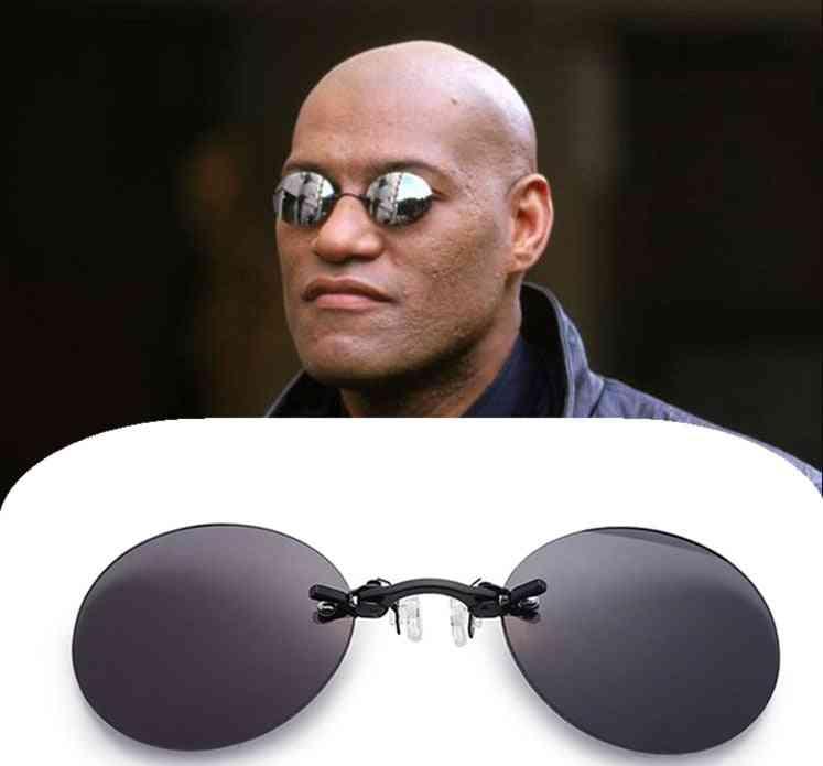 Mini Rimless Sunglasses, Clip On Nose, Lens Round Glasses
