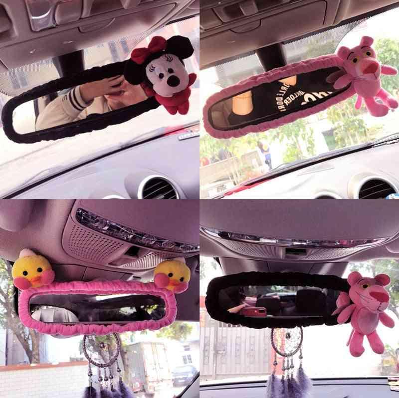 Rearview Mirror Cover, Cute Bear, Rabbit, Chicken, Set Cartoon, Safety Belt Car Interio