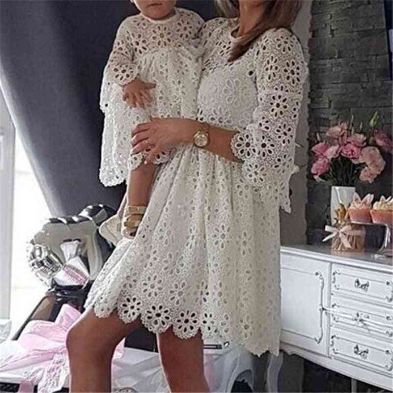 Family Matching Mother Daughter Dresses, Women Floral Lace Party Clothes