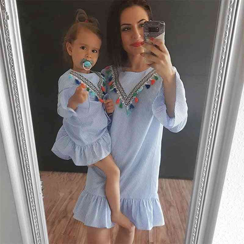 Baby Girl Family Matching Clothes, Mom And Daughter Dress Nine Quarter Stripe Tassel
