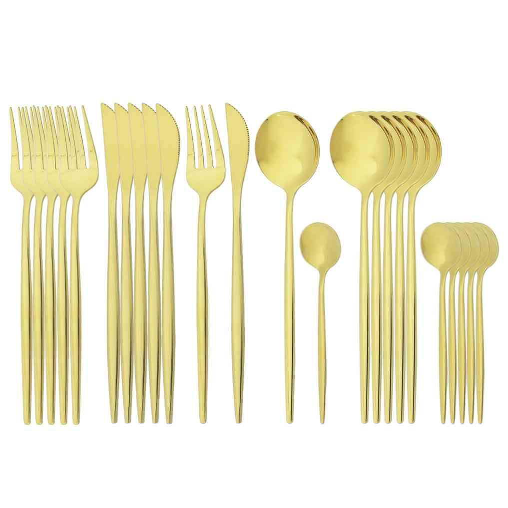 Knife, Fork, Coffee Spoon, Tableware, Dinnerware Gold Cutlery Set