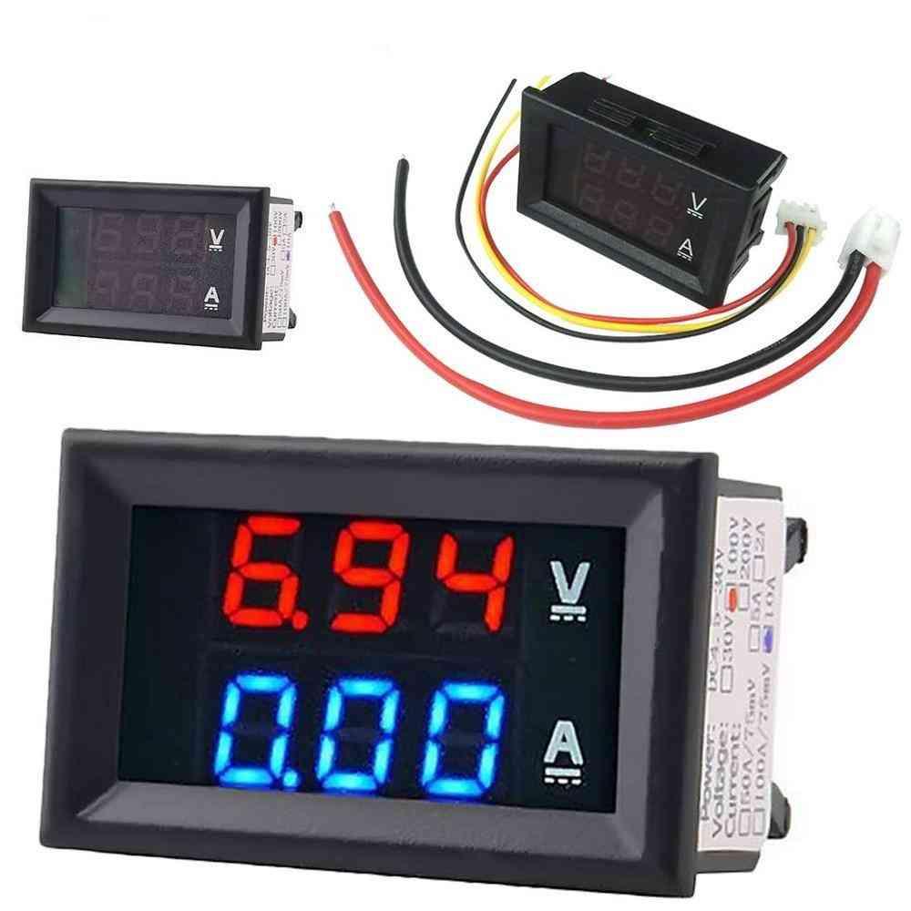 High Quality  Voltmeter Ammeter Blue + Red Led Amp Dual Digital Volt Meter Gauge