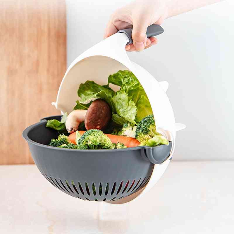 Multi Manual Slicer Rotate Vegetable Cutter With Drain & Vegetable Washer Basket