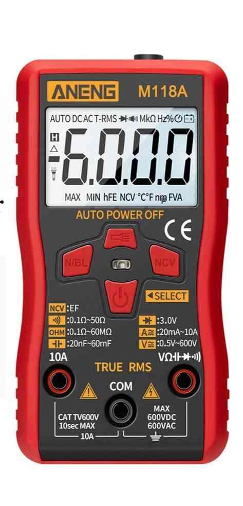 Digital Mini Multimeter Tester Auto True Rms Tranistor Meter With Ncv Data Hold Flashlight (red)