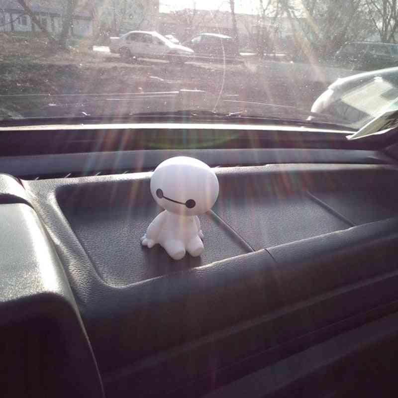 Cartoon Plastic Baymax Robot Shaking Head Figure Car Ornaments Auto Interior Decorations