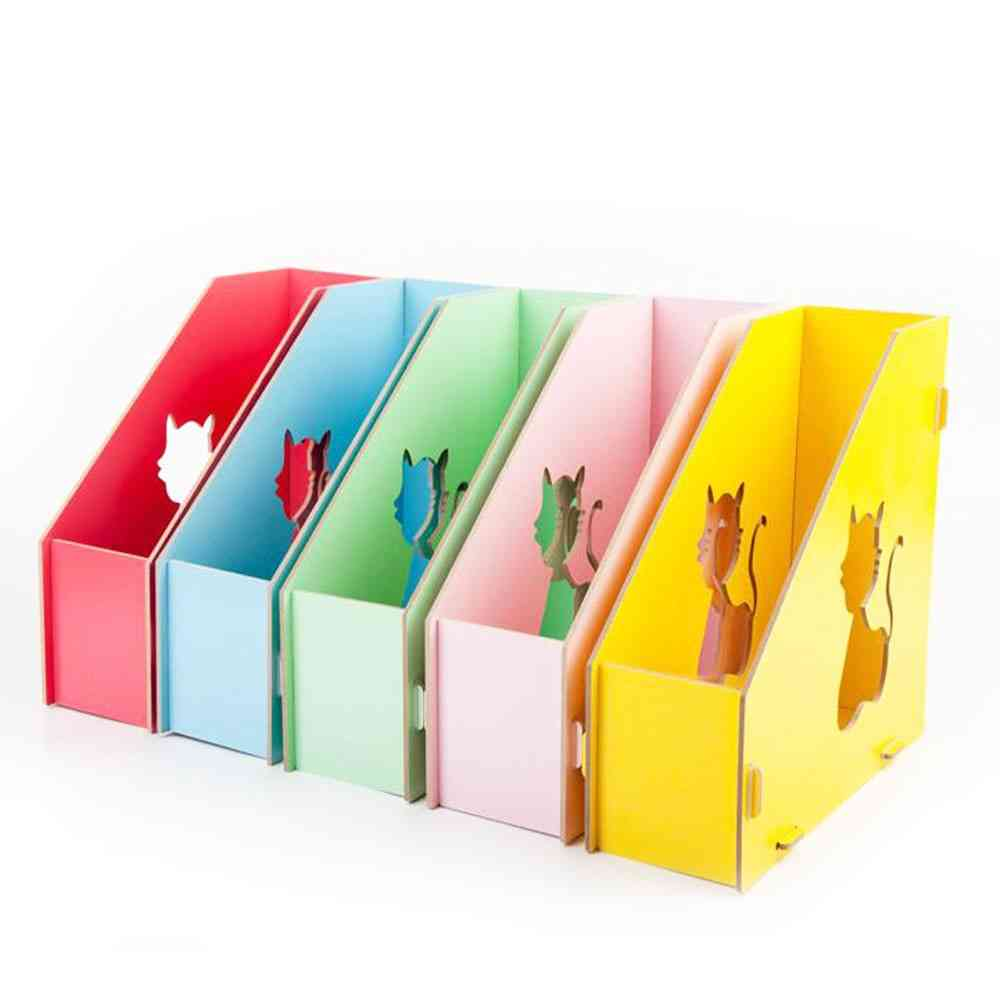 Multi-colors Cat Hollow, Wooden Magazine Holder For Desktop Books, Office