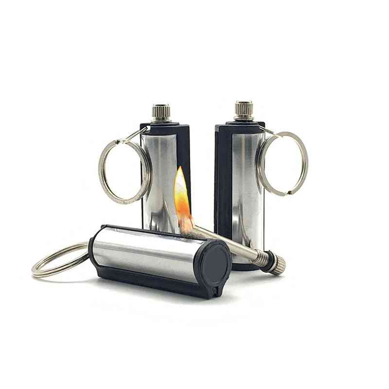 Keychain Striker Lighter Permanent Cylindrical Match Stainless Steel Key Ring