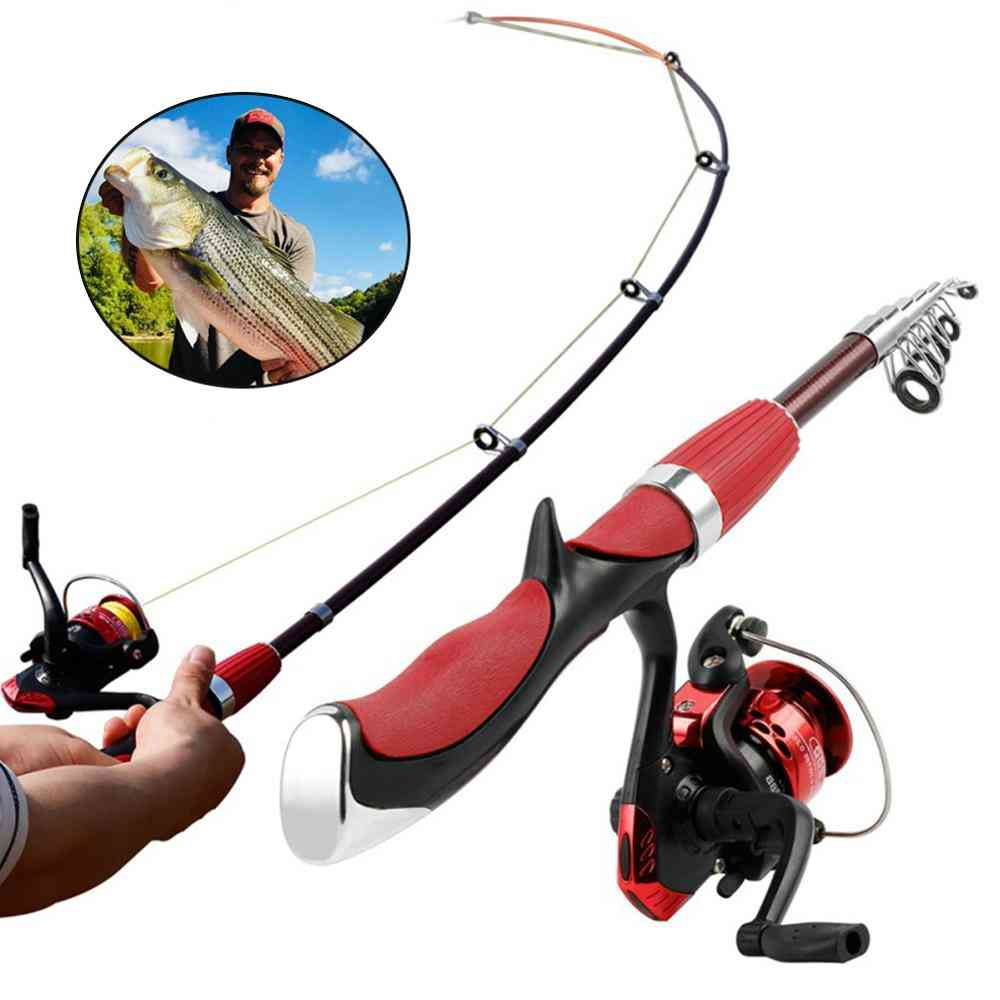 Fishing Rod And Reel Set, Carbon Rods With Mini Spinning Tackle