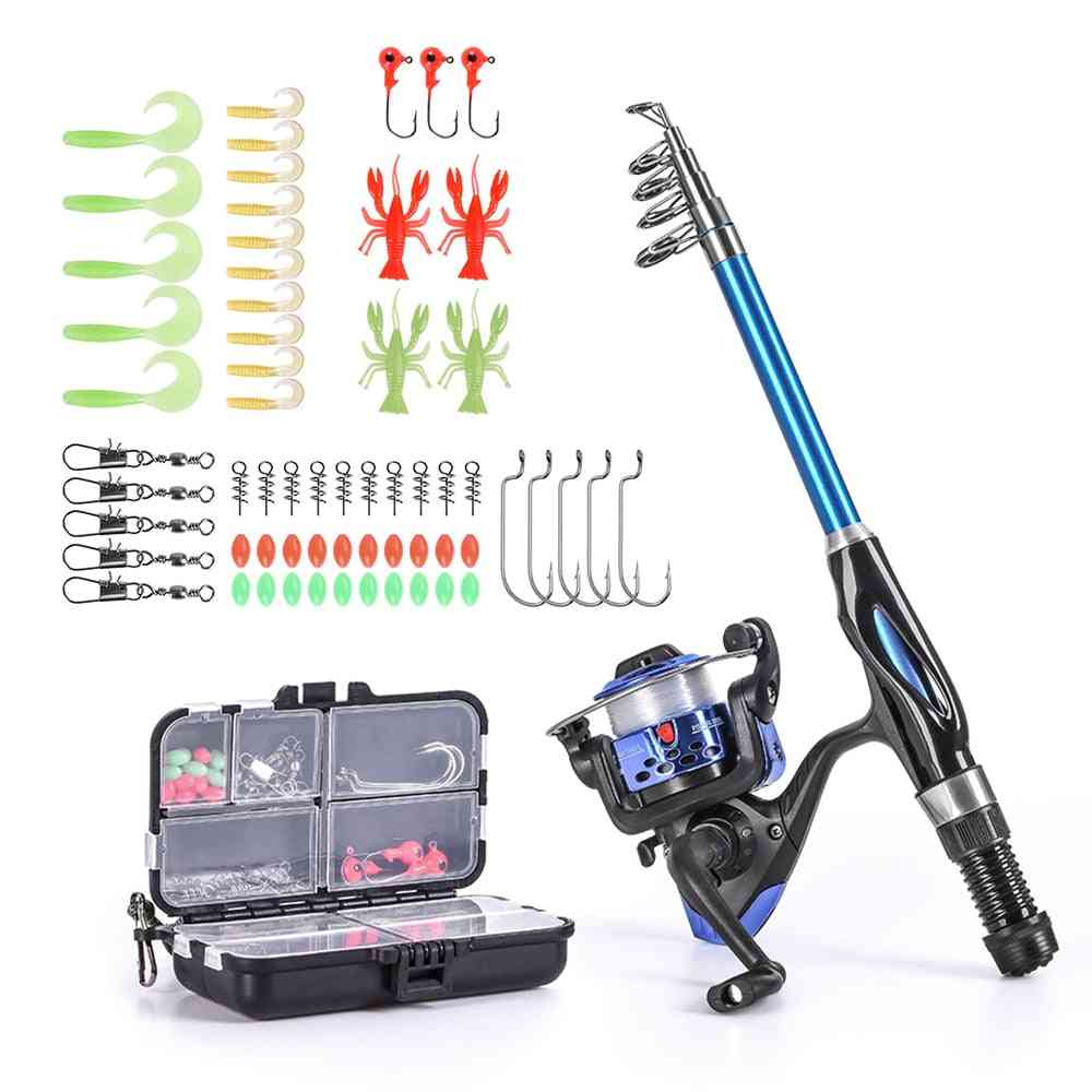 Fishing Rod And Reel Combo Set With Hooks, Soft Lures Barrel Swivels Bag