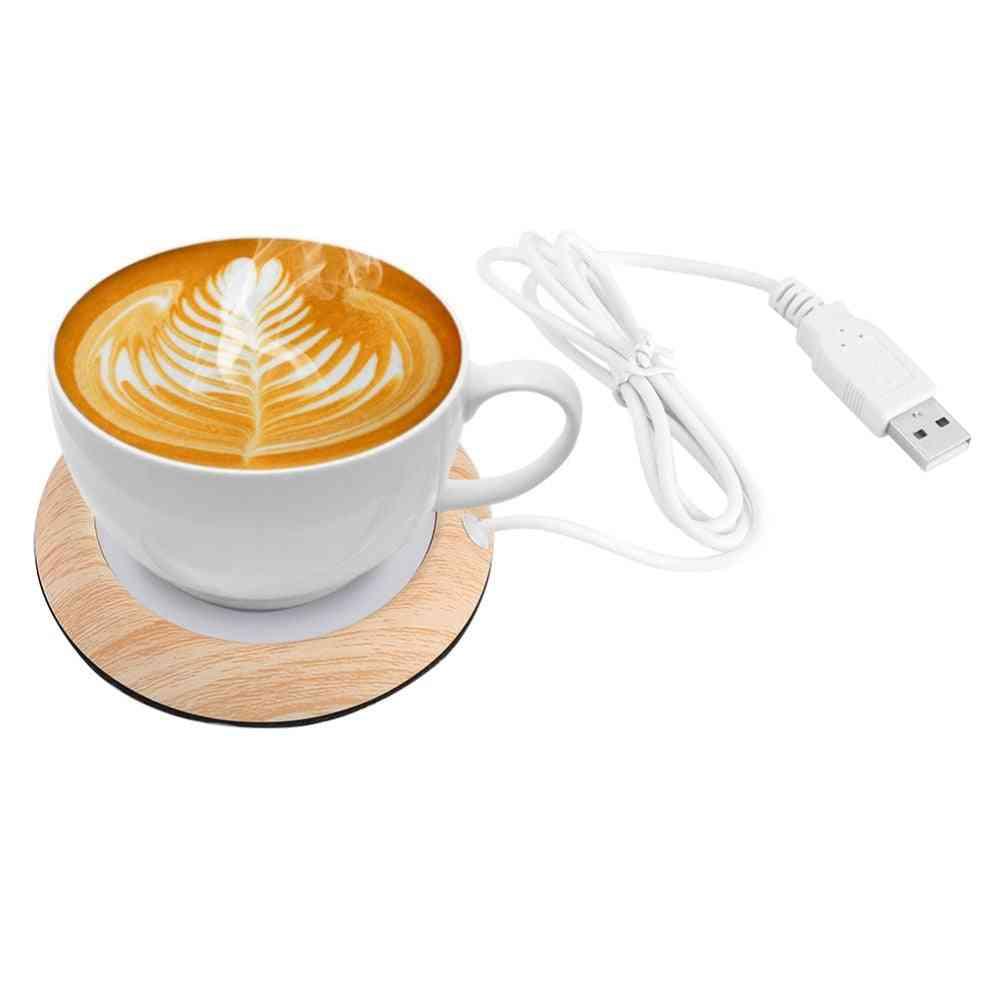 Portable Usb Wood Grain Cup Warmer - Keep Drink Warm