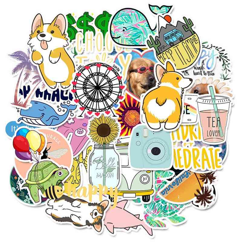 Cartoon Simple Cute Stickers For Laptop, Bicycle Helmet And Car Decals