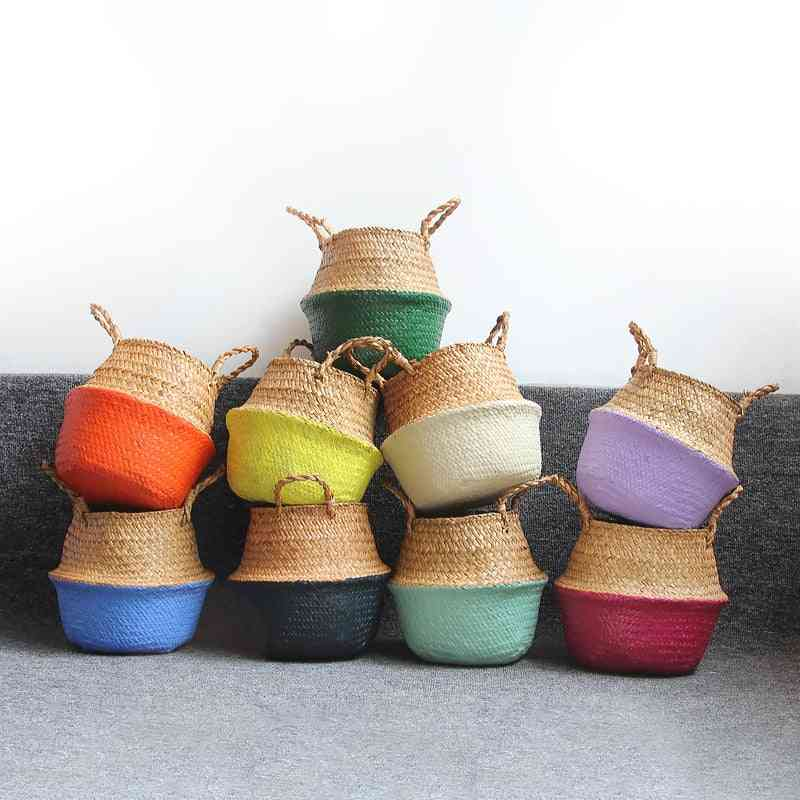 Laundry Basket Storage, Handmade Straw Organizer, Plant Pot, Flower Planter
