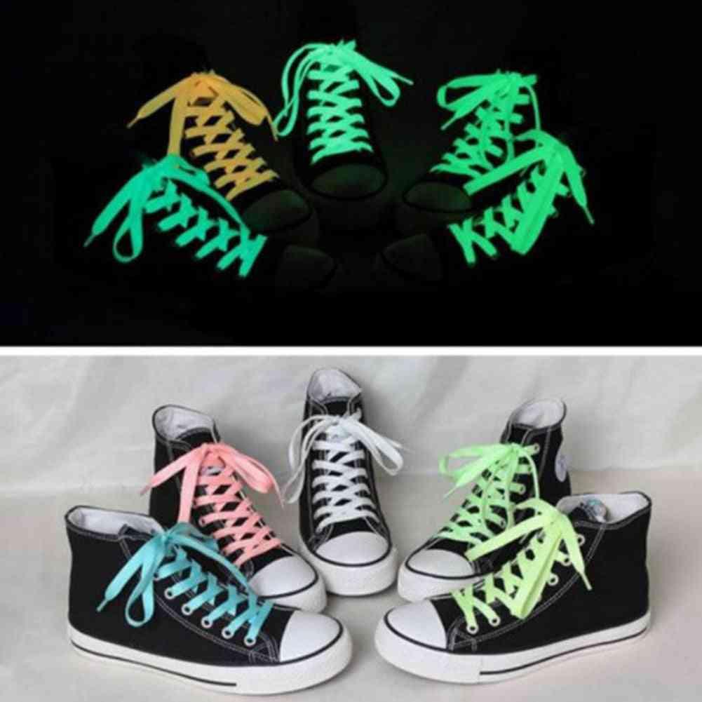 Flat Reflective Runner Shoe Laces, Safety Luminous Glowing Shoelaces