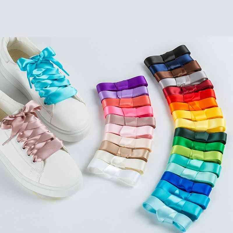 Silk Satin Shoelaces, Flat Ribbon Shoe Laces Boots