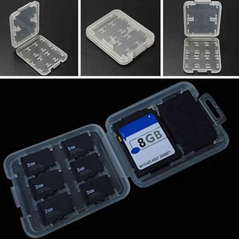 Double-layers Hard Micro  Hc Tf Ms 8 Memory Card Slots Storage Box