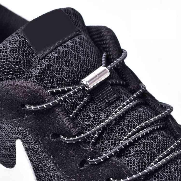 Elastic Locking Shoelaces Round No Tie Kids Adult Sneakers Quick Shoestrings