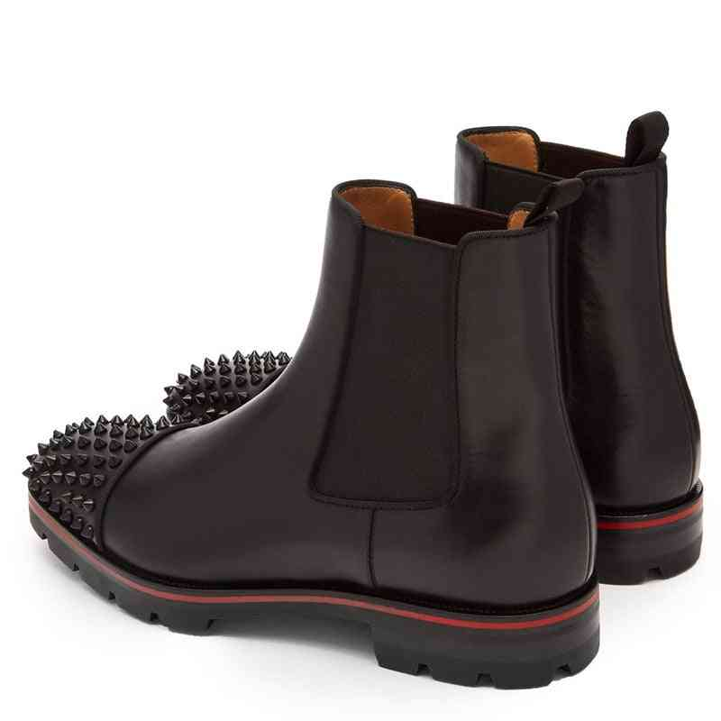 Casual Leather, Rivet Shoes, Ankle Chelsea Boots