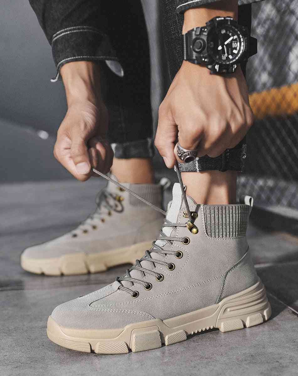 Winter Fashion Hot Selling Men's Boots Tooling Motorcycle Retro Shoes Trendy