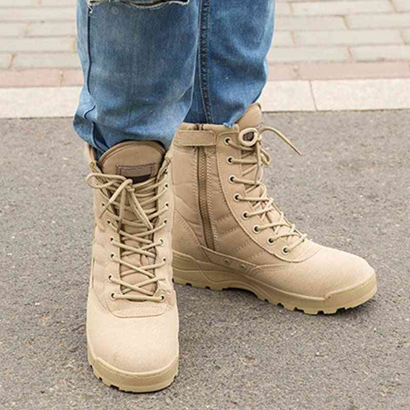 Fashion Men Boots Winter Outdoor Leather Military Breathable Army Combat Desert Men Hiking Shoes